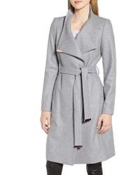 6ade834110fb Ted Baker - Wool Blend Long Wrap Coat - Lyst