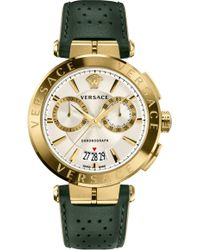 Versace - Aion Chronograph Leather Strap Watch - Lyst