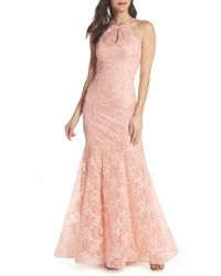 Xscape - Ruched Lace Halter Mermaid Gown - Lyst