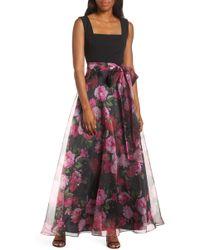 Eliza J Floral Organza Gown