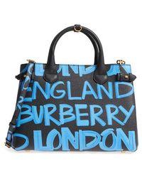 Burberry - Medium Banner Graffiti Leather Tote - - Lyst