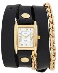 La Mer Collections - Leather & Chain Wrap Watch - Lyst