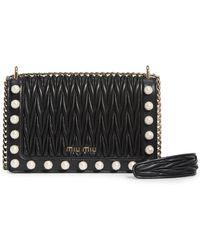 Miu Miu - Imitation Pearl & Matelasse Leather Crossbody Bag - - Lyst