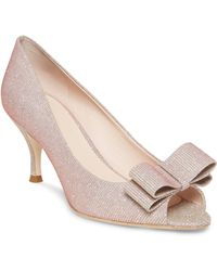 0ecd506c1250 Kate Spade Louisa Glitter Bow Suede Pumps in Pink - Lyst