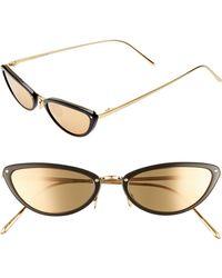 6852ba993b9 Lyst - Linda Farrow 60mm Mirrored 18 Karat Gold Aviator Sunglasses ...