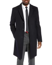 1657c3665260 BOSS Boss Nye Wool   Cashmere Top Coat in Black for Men - Lyst