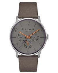 Ted Baker | James Multifunction Leather Strap Watch | Lyst