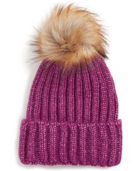 5ea495acc Faux Fur Pom Knit Beanie - Purple