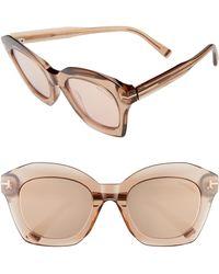 5a281254ed Tom Ford - Bardot 53mm Square Sunglasses - Light Brown  Brown Mirror - Lyst