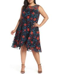 Tahari - Floral Embroidery Fit And Flare Dress - Lyst