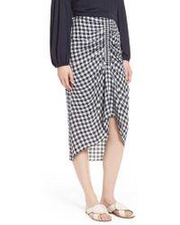 Nordstrom Ruched Front Gingham Skirt