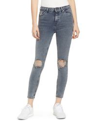 TOPSHOP - Jamie Ripped Skinny Jeans - Lyst