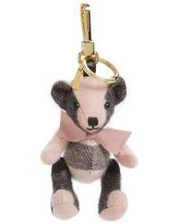 Burberry - 'thomas' Check Bear Cashmere Bag Charm - Lyst