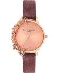 Olivia Burton - Case Cuff Leather Strap Watch - Lyst