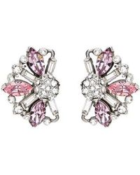 Ben-Amun - Silver & Pink Crystal Earrings - Lyst