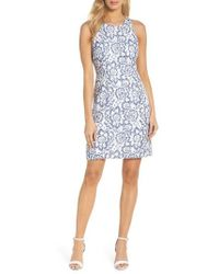 Adrianna Papell - Elisa Two Tone Lace Sheath Dress - Lyst
