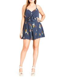 City Chic - Strappy Floral Romper - Lyst