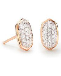 Kendra Scott - Amelee Diamond & Rose Gold Stud Earrings - Lyst