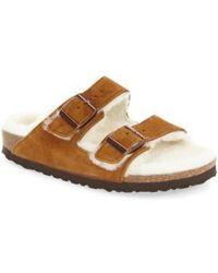 Birkenstock - 'arizona' Genuine Shearling Lined Sandal - Lyst