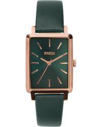 Breda - Baer Rectangular Leather Strap Watch - Lyst