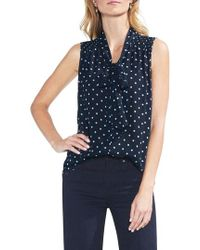 Vince Camuto - Romantic Dots Tie Neck Blouse - Lyst