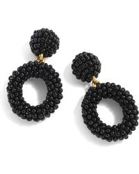 J.Crew | J.crew Mini Beaded Drop-hoop Earrings | Lyst