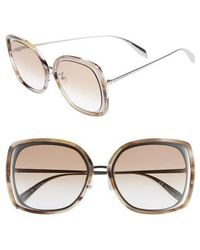 Alexander McQueen - 57mm Square Sunglasses - Light Ruthenium - Lyst