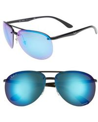 c54de98b9cc Lyst - Ray-Ban Chromance 62mm Polarized Sunglasses - Shiny Black in ...