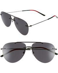 11cd8601a6 Lyst - Gucci Metal 63mm Aviator Sunglasses - Dark Ruthenium Black in ...