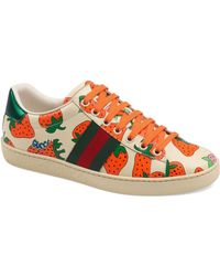 Gucci - New Ace Strawberry Print Sneaker - Lyst