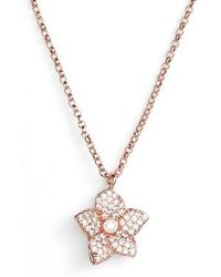 Kate Spade - Blooming Pave Mini Pendant Necklace - Lyst