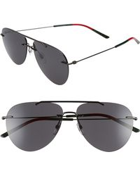 155fab841711f Gucci Rimless Rectangle Sunglasses in Black for Men - Lyst