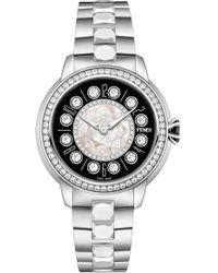 Fendi - Ishine Diamond Bezel Rotating Bracelet Watch - Lyst