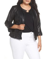 Sejour - Ruffled Faux Leather Jacket - Lyst