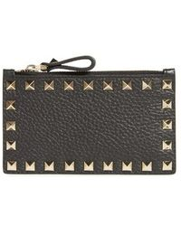 Valentino | Rockstud Leather Zip Card Case | Lyst