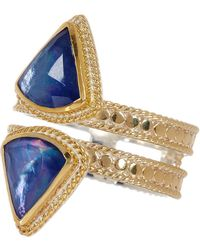 Anna Beck - 18k Gold Plated Sterling Silver Double Row Lapis Triplet Ring - Lyst