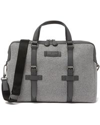 ad6d6b28f72 Ted Baker Slim Canvas And Leather Document Bag in Black for Men - Lyst