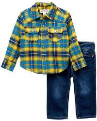 True Religion - Woven Plaid Button-down Shirt 2-piece Set (baby Boys) - Lyst