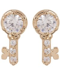 Nadri - Reminisce Prong Set & Pave Cz Key Stud Earrings - Lyst