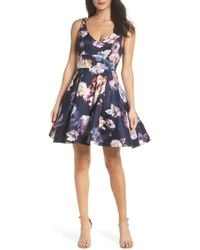 Xscape - Floral Print Fit & Flare Dress - Lyst