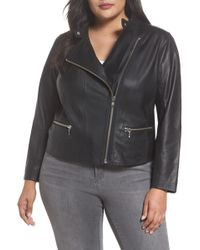 Halogen - Leather Moto Jacket (plus Size) - Lyst