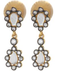 Freida Rothman - 14k Gold & Rhodium Plated Sterling Silver Double Mother Of Pearl Cz Cluster Drop Earrings - Lyst
