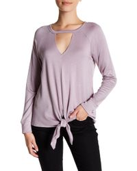 Bobeau - Tie Front Cutout Sweatshirt (petite) - Lyst