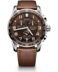 Victorinox - Men's Chronograph Class Xls Brown Leather Strap Watch, 45mm - Lyst