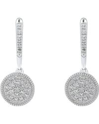 Bony Levy - 18k White Gold Pave Diamond Circle Drop Earrings - 0.16 Ctw - Lyst