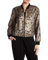 Vince Camuto - Zip Front Gold Foil Bomber Jacket - Lyst