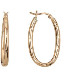 Argento Vivo - 18k Gold Plated Sterling Silver Textured Oval Hoop Earrings - Lyst