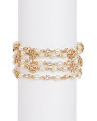 Jenny Packham - Multi-chain Bezel & Prong Set Glass Crystal With Imitation Pearl Star Charm Bracelet - Lyst