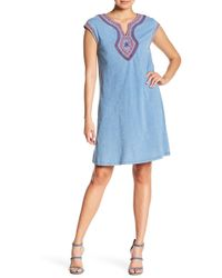 Spense - Washed Embroidered Short Sleeve Dress - Lyst