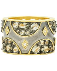 Freida Rothman - Rose D'or 14k Yellow Gold & Black Rhodium Plated Cz Wide Band Ring - Size 7 - Lyst
